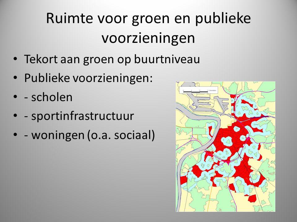 Ruimte voor groen en publieke voorzieningen Tekort aan groen op buurtniveau Publieke voorzieningen: - scholen - sportinfrastructuur - woningen (o.a. s