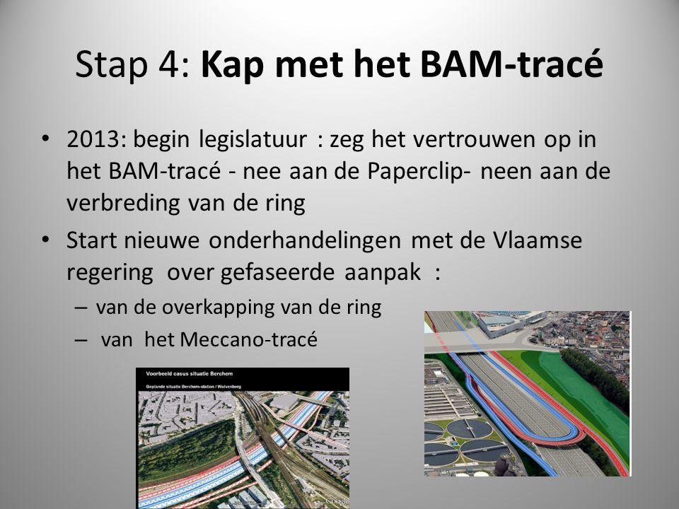 Stap 4: Kap met het BAM-tracé 2013: begin legislatuur : zeg het vertrouwen op in het BAM-tracé - nee aan de Paperclip- neen aan de verbreding van de r