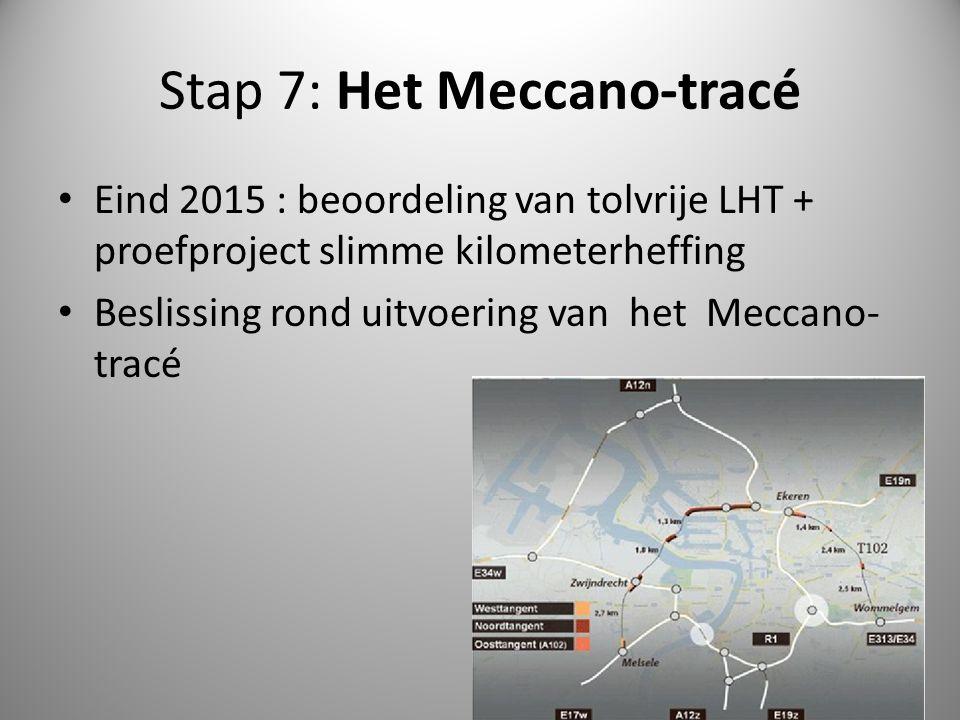 Stap 7: Het Meccano-tracé Eind 2015 : beoordeling van tolvrije LHT + proefproject slimme kilometerheffing Beslissing rond uitvoering van het Meccano-