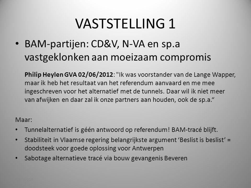 VASTSTELLING 1 BAM-partijen: CD&V, N-VA en sp.a vastgeklonken aan moeizaam compromis Philip Heylen GVA 02/06/2012: