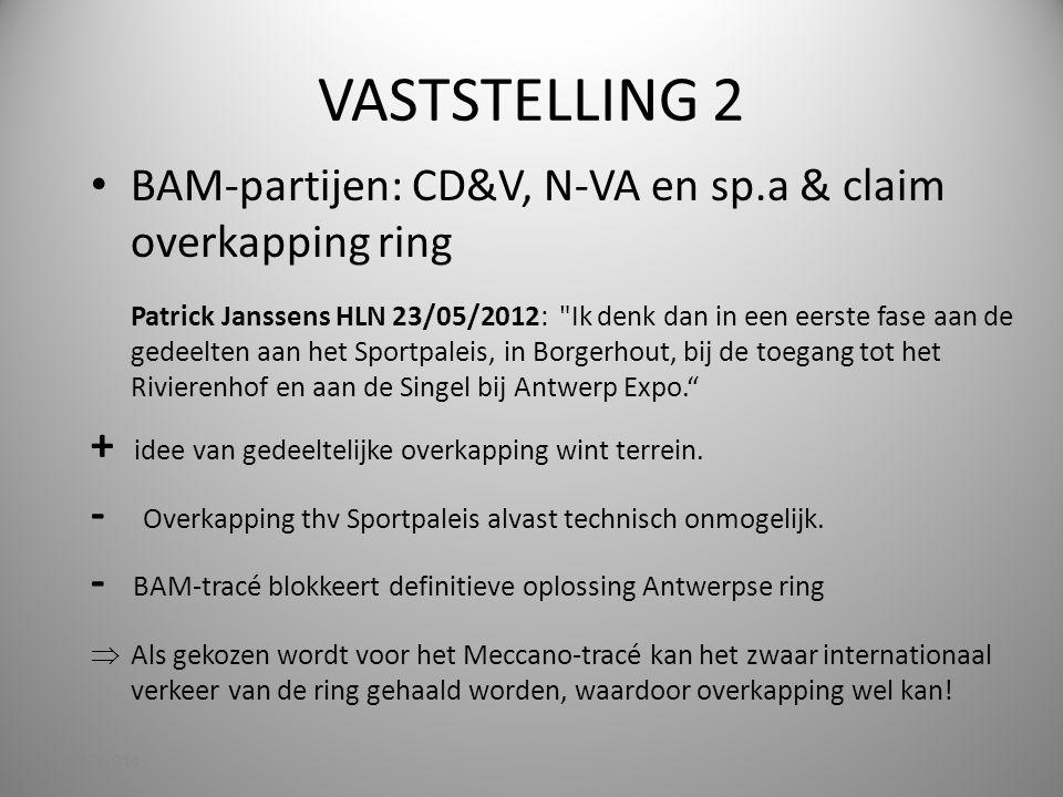 VASTSTELLING 2 BAM-partijen: CD&V, N-VA en sp.a & claim overkapping ring Patrick Janssens HLN 23/05/2012: