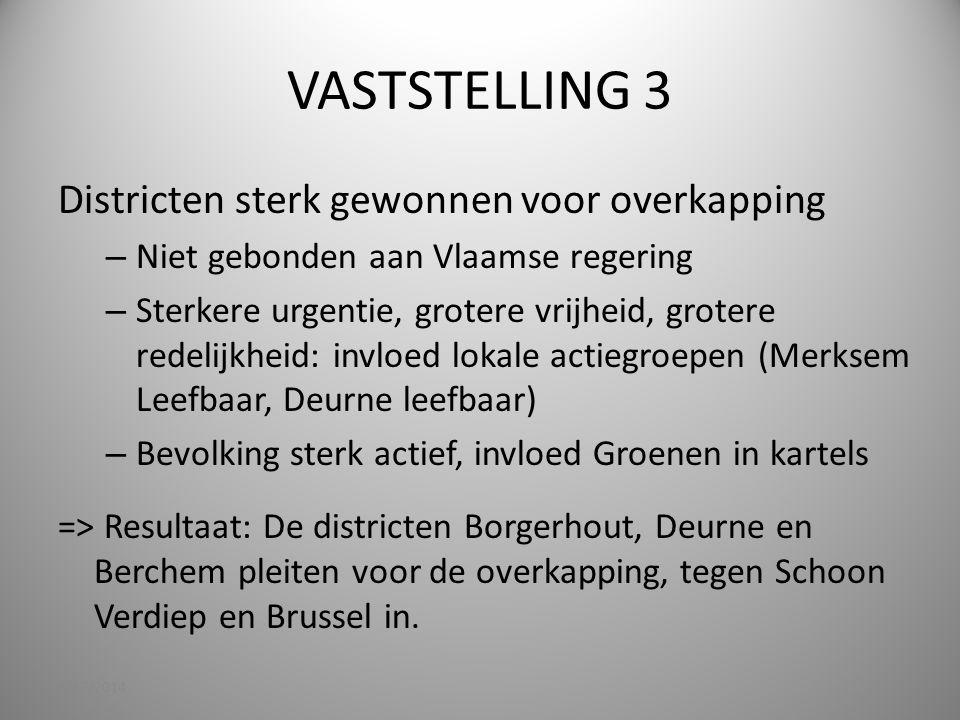 VASTSTELLING 3 Districten sterk gewonnen voor overkapping – Niet gebonden aan Vlaamse regering – Sterkere urgentie, grotere vrijheid, grotere redelijk
