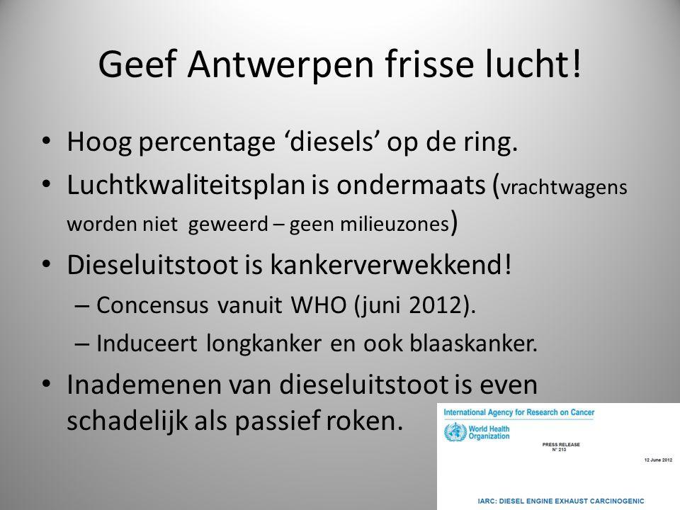 Geef Antwerpen frisse lucht! Hoog percentage 'diesels' op de ring. Luchtkwaliteitsplan is ondermaats ( vrachtwagens worden niet geweerd – geen milieuz
