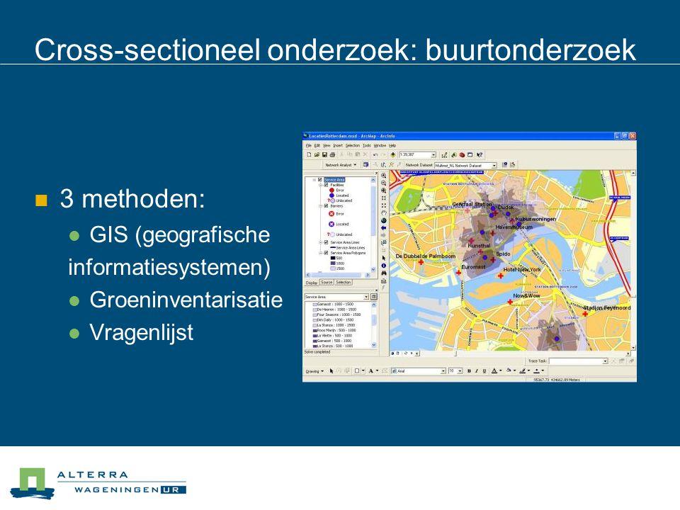 Cross-sectioneel onderzoek: buurtonderzoek 3 methoden: GIS (geografische informatiesystemen) Groeninventarisatie Vragenlijst