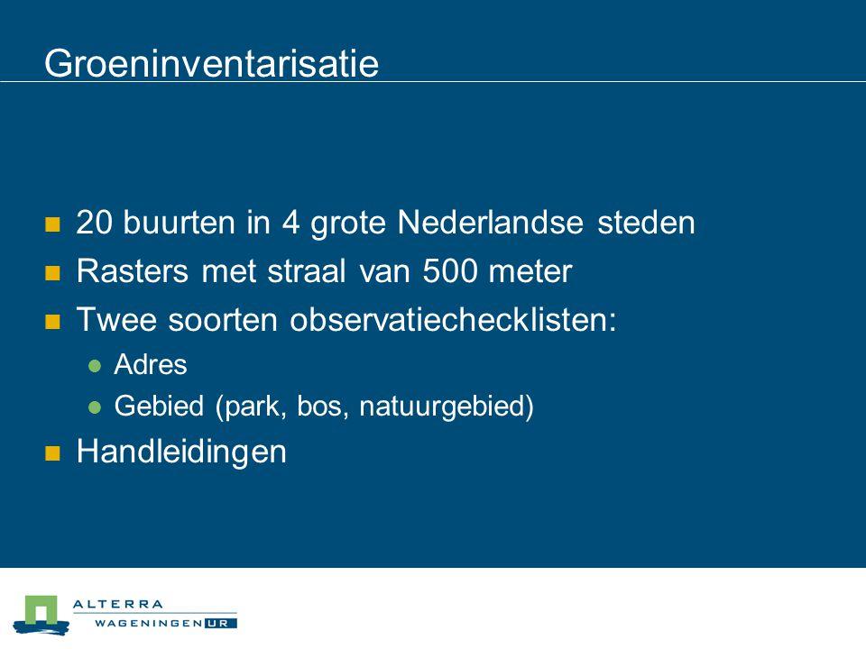 Groeninventarisatie 20 buurten in 4 grote Nederlandse steden Rasters met straal van 500 meter Twee soorten observatiechecklisten: Adres Gebied (park,