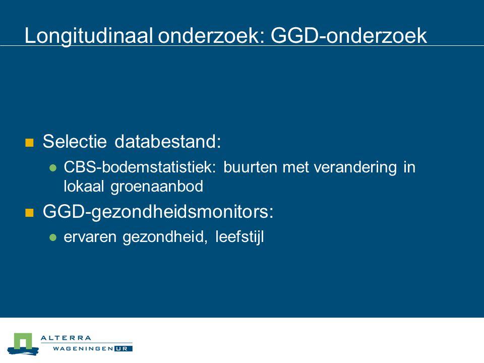 Longitudinaal onderzoek: GGD-onderzoek Selectie databestand: CBS-bodemstatistiek: buurten met verandering in lokaal groenaanbod GGD-gezondheidsmonitor