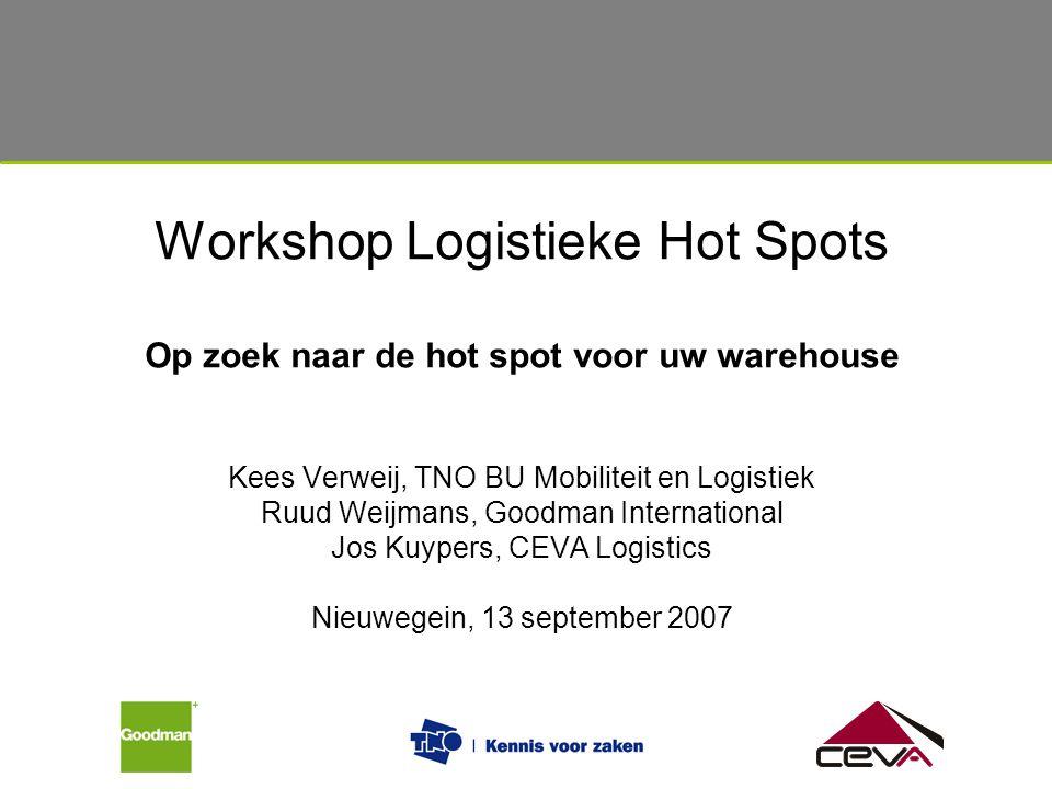 Workshop Logistieke Hot Spots Op zoek naar de hot spot voor uw warehouse Kees Verweij, TNO BU Mobiliteit en Logistiek Ruud Weijmans, Goodman Internati
