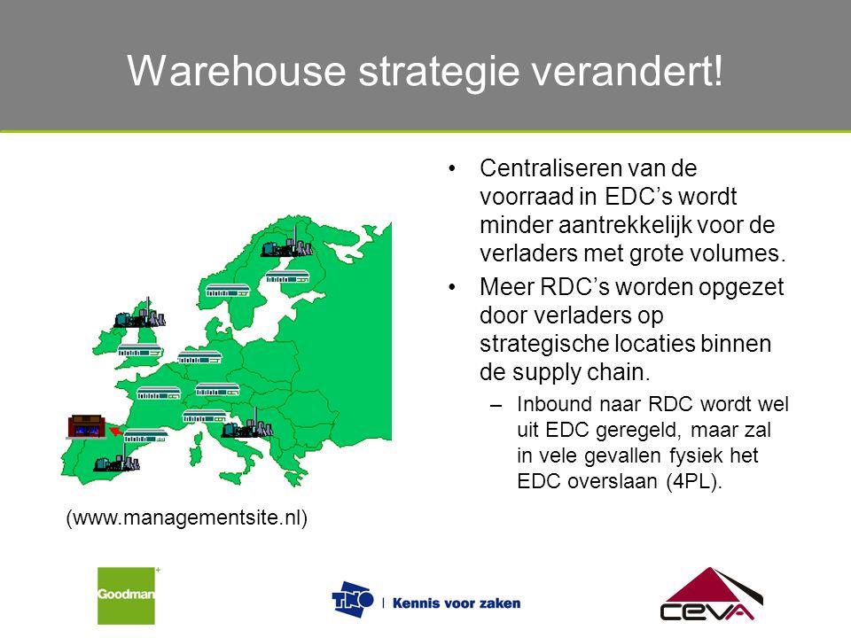 Warehouse strategie verandert! Centraliseren van de voorraad in EDC's wordt minder aantrekkelijk voor de verladers met grote volumes. Meer RDC's worde