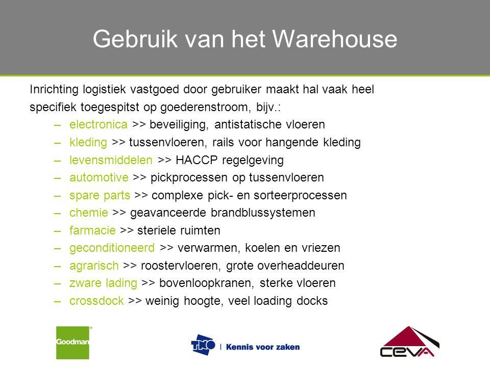 Gebruik van het magazijn Inrichting logistiek vastgoed door gebruiker maakt hal vaak heel specifiek toegespitst op goederenstroom, bijv.: –electronica