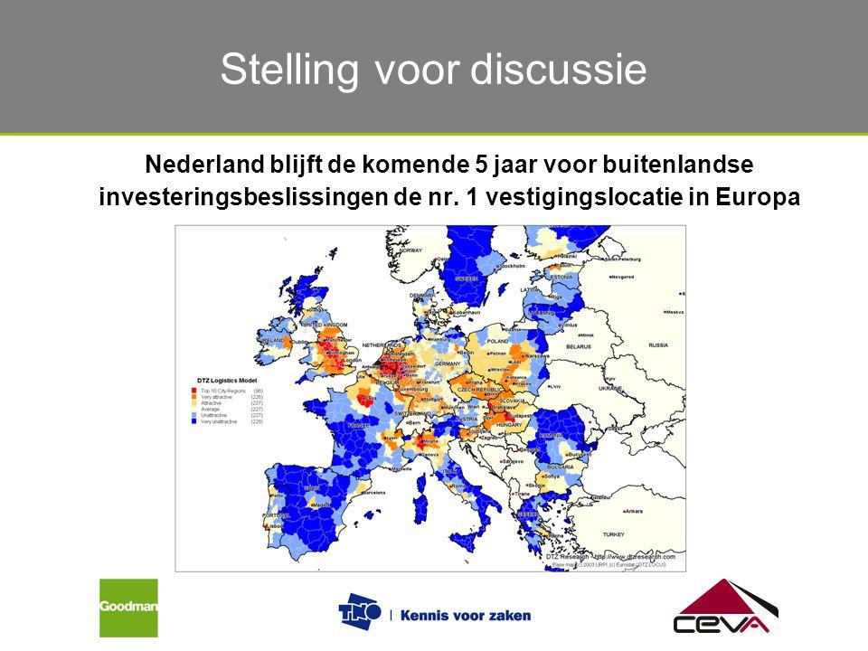 Gebruik van het magazijn Nederland blijft de komende 5 jaar voor buitenlandse investeringsbeslissingen de nr. 1 vestigingslocatie in Europa Stelling v