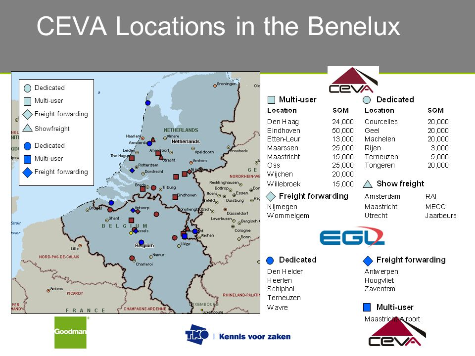 Dedicated Multi-user Showfreight Freight forwarding Dedicated Multi-user Freight forwarding CEVA Locations in the Benelux