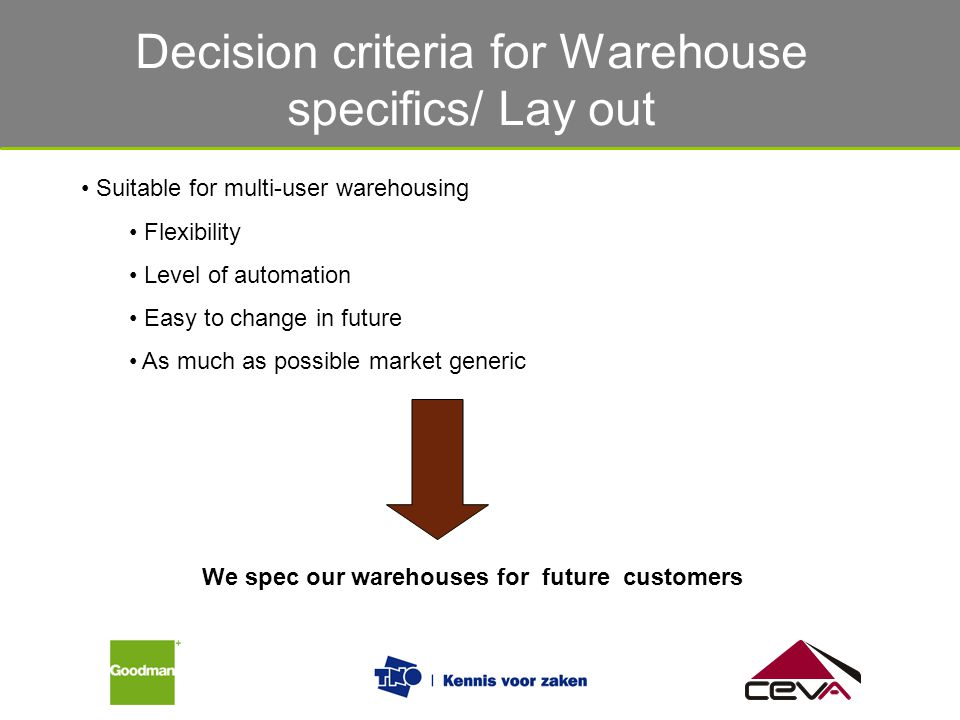 Decision criteria for Warehouse specifics/ Lay out Suitable for multi-user warehousing Flexibility Level of automation Easy to change in future As muc