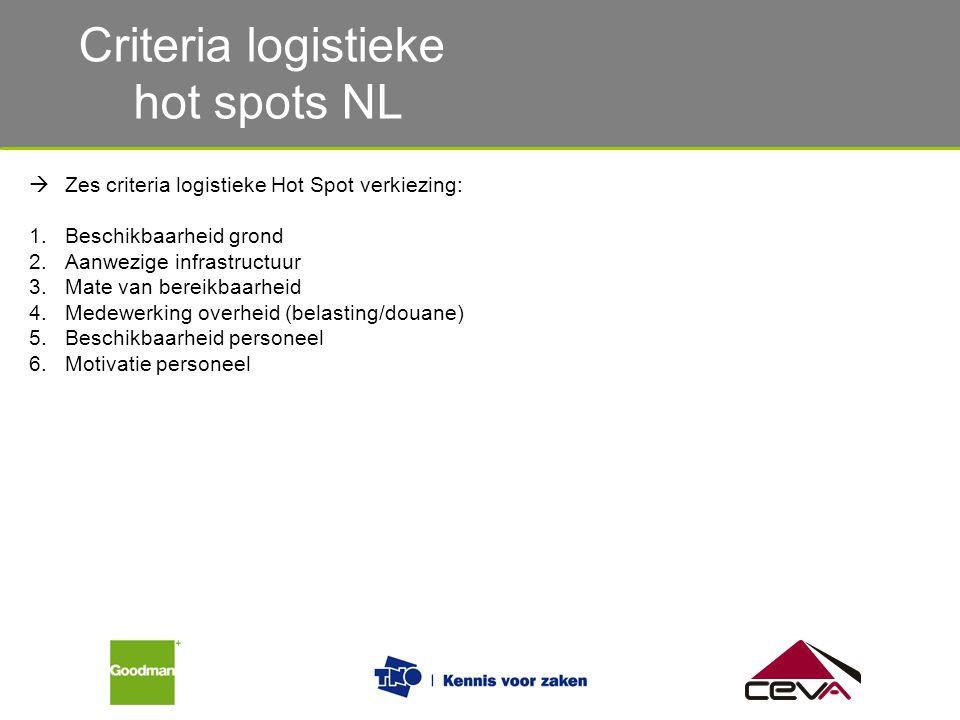 Criteria logistieke hot spots NL  Zes criteria logistieke Hot Spot verkiezing: 1.Beschikbaarheid grond 2.Aanwezige infrastructuur 3.Mate van bereikba