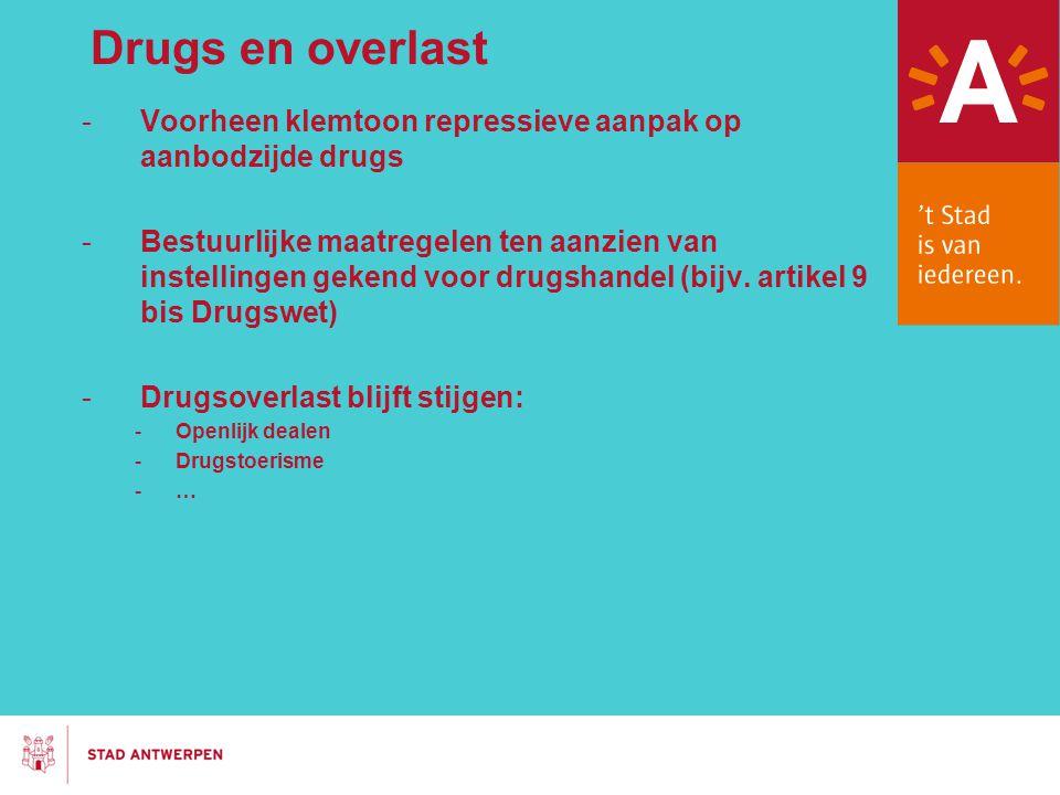 Drugs en overlast -Voorheen klemtoon repressieve aanpak op aanbodzijde drugs -Bestuurlijke maatregelen ten aanzien van instellingen gekend voor drugsh