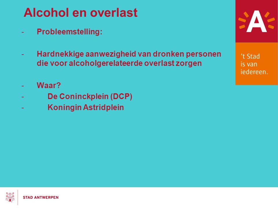 Alcohol en overlast -Probleemstelling: -Hardnekkige aanwezigheid van dronken personen die voor alcoholgerelateerde overlast zorgen -Waar? - De Coninck