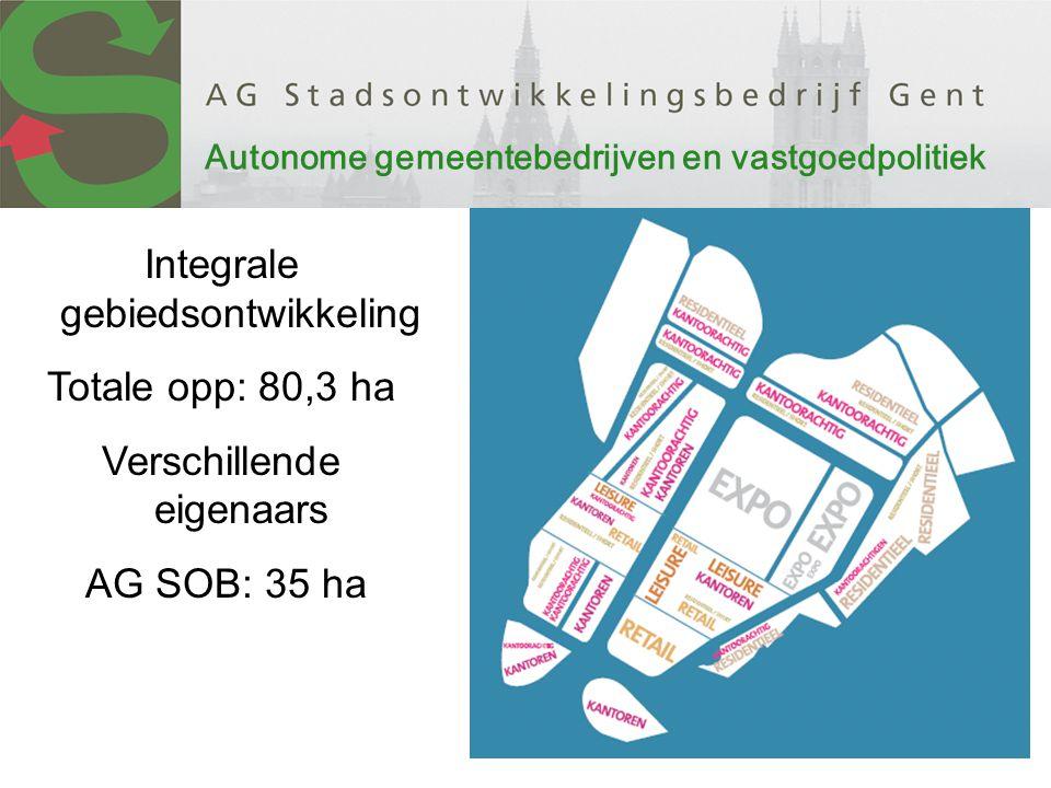 Integrale gebiedsontwikkeling Totale opp: 80,3 ha Verschillende eigenaars AG SOB: 35 ha