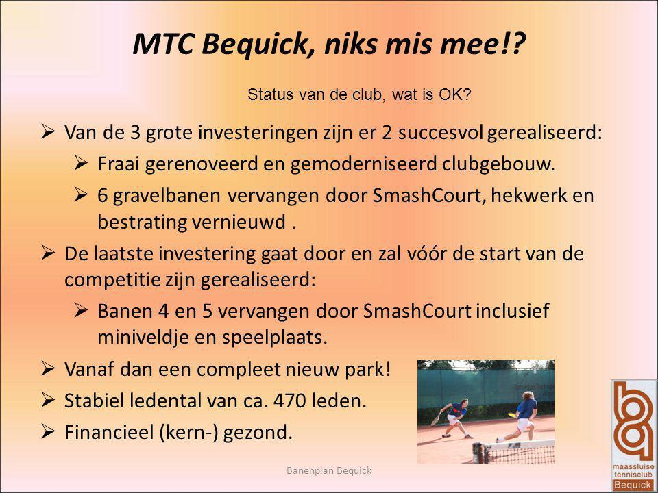 Banenplan Bequick MTC Bequick, niks mis mee!? Status van de club, wat is OK?  Van de 3 grote investeringen zijn er 2 succesvol gerealiseerd:  Fraai