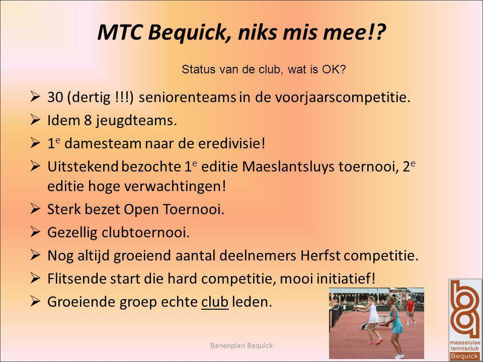 Banenplan Bequick MTC Bequick, niks mis mee!? Status van de club, wat is OK?  30 (dertig !!!) seniorenteams in de voorjaarscompetitie.  Idem 8 jeugd