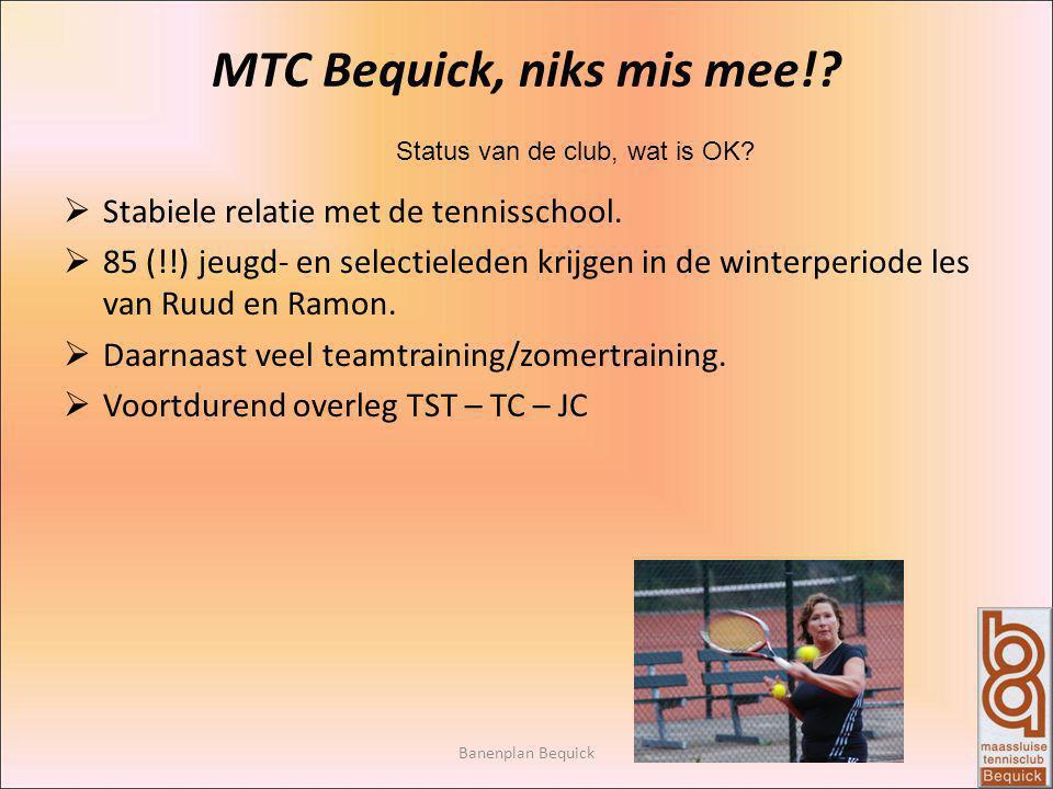 Banenplan Bequick MTC Bequick, niks mis mee!? Status van de club, wat is OK?  Stabiele relatie met de tennisschool.  85 (!!) jeugd- en selectieleden
