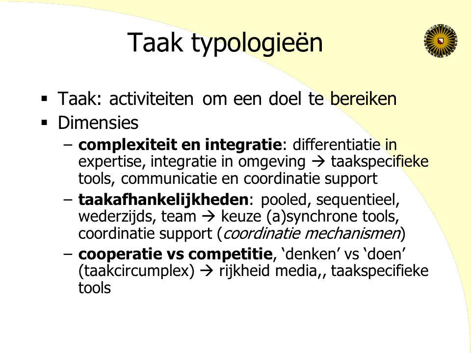 Taak typologieën  Taak: activiteiten om een doel te bereiken  Dimensies –complexiteit en integratie: differentiatie in expertise, integratie in omge
