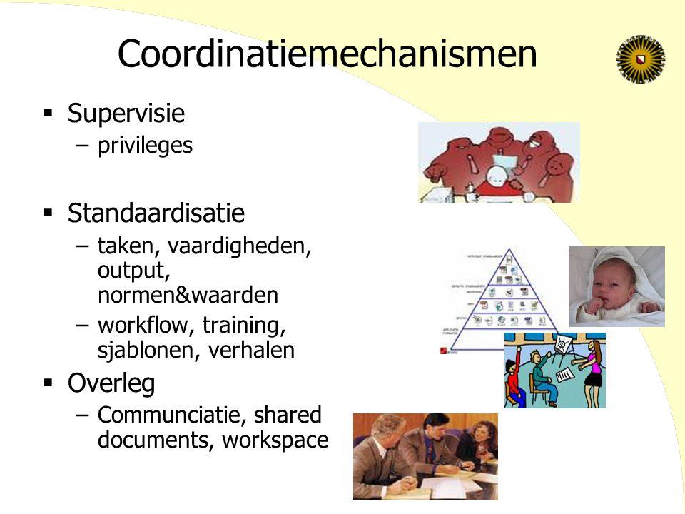 Coordinatiemechanismen  Supervisie –privileges  Standaardisatie –taken, vaardigheden, output, normen&waarden –workflow, training, sjablonen, verhalen  Overleg –Communciatie, shared documents, workspace