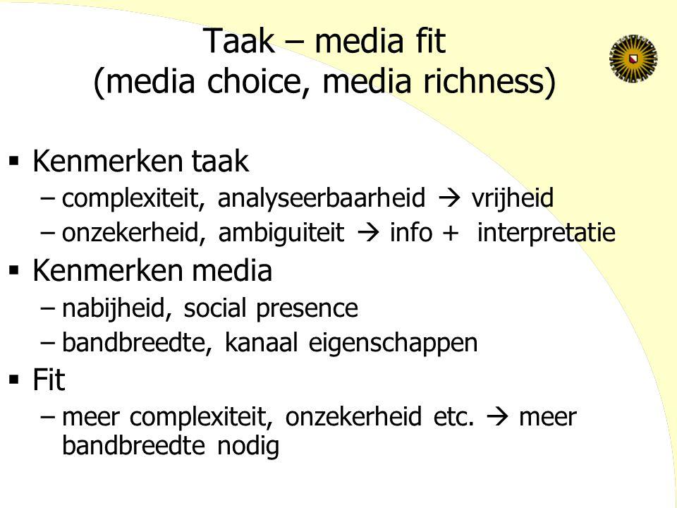 Taak – media fit (media choice, media richness)  Kenmerken taak –complexiteit, analyseerbaarheid  vrijheid –onzekerheid, ambiguiteit  info + interpretatie  Kenmerken media –nabijheid, social presence –bandbreedte, kanaal eigenschappen  Fit –meer complexiteit, onzekerheid etc.