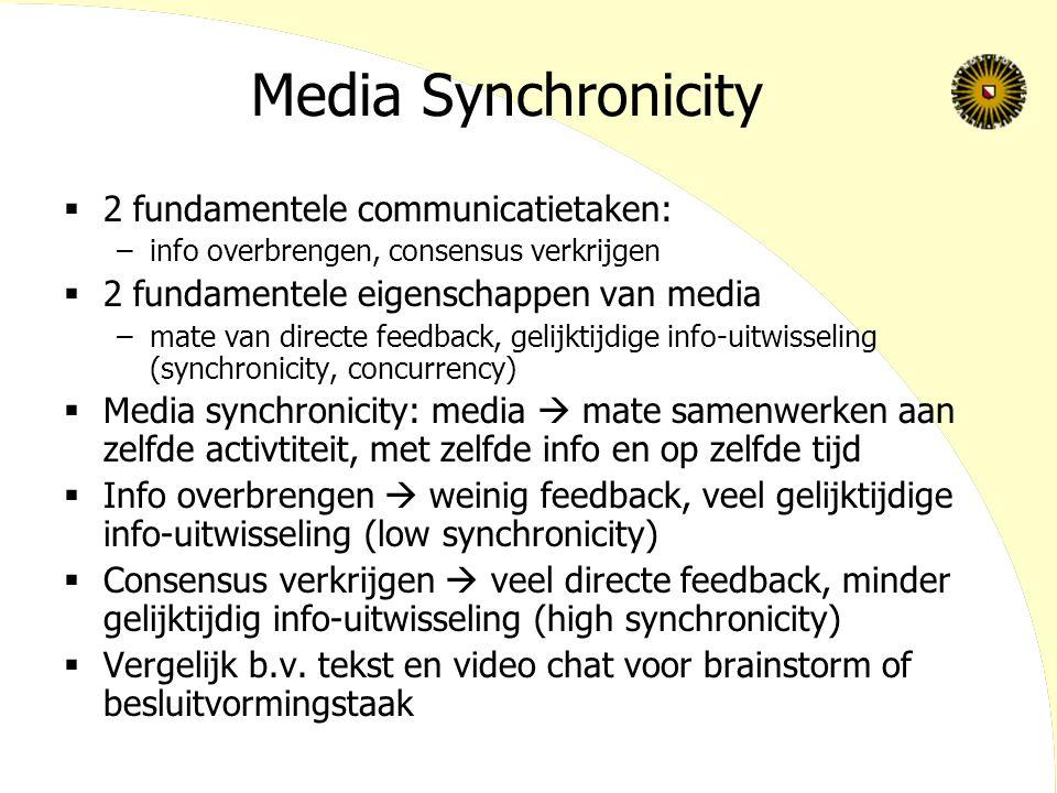 Media Synchronicity  2 fundamentele communicatietaken: –info overbrengen, consensus verkrijgen  2 fundamentele eigenschappen van media –mate van directe feedback, gelijktijdige info-uitwisseling (synchronicity, concurrency)  Media synchronicity: media  mate samenwerken aan zelfde activtiteit, met zelfde info en op zelfde tijd  Info overbrengen  weinig feedback, veel gelijktijdige info-uitwisseling (low synchronicity)  Consensus verkrijgen  veel directe feedback, minder gelijktijdig info-uitwisseling (high synchronicity)  Vergelijk b.v.