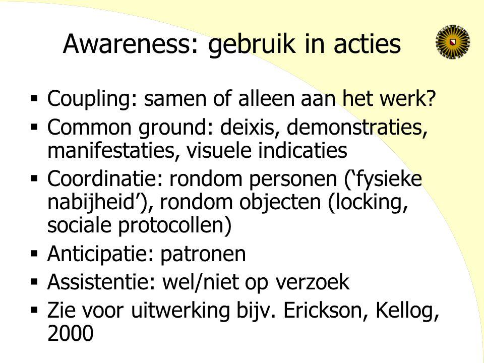Awareness: gebruik in acties  Coupling: samen of alleen aan het werk?  Common ground: deixis, demonstraties, manifestaties, visuele indicaties  Coo