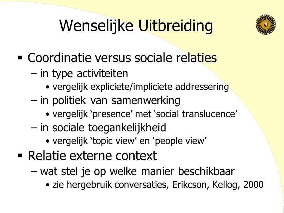 Wenselijke Uitbreiding  Coordinatie versus sociale relaties –in type activiteiten vergelijk expliciete/impliciete addressering –in politiek van samen
