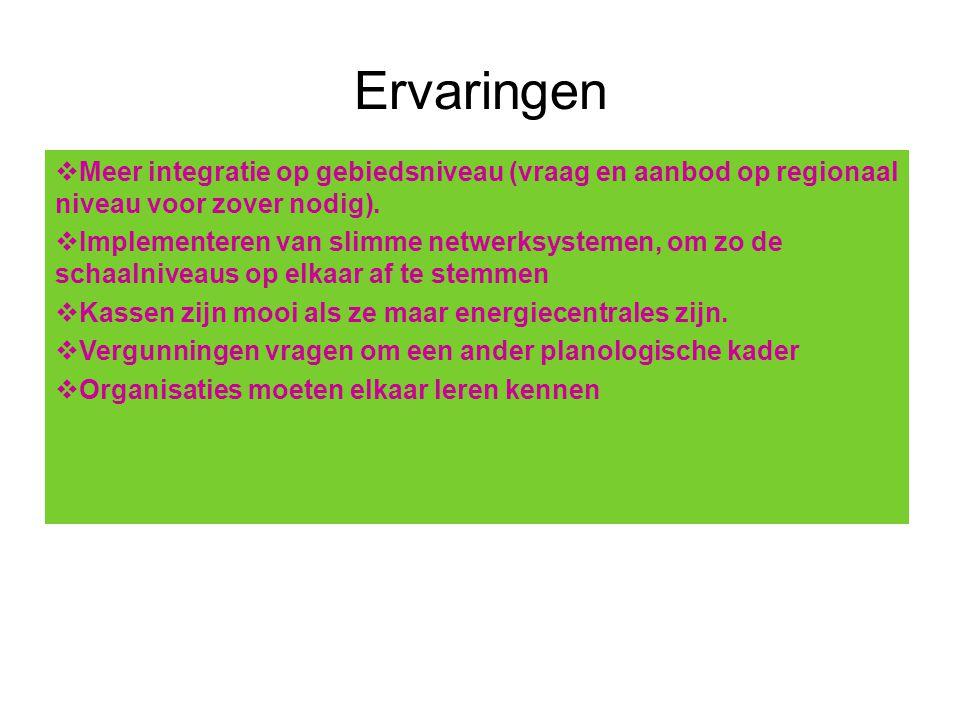 Ervaringen  Meer integratie op gebiedsniveau (vraag en aanbod op regionaal niveau voor zover nodig).  Implementeren van slimme netwerksystemen, om z