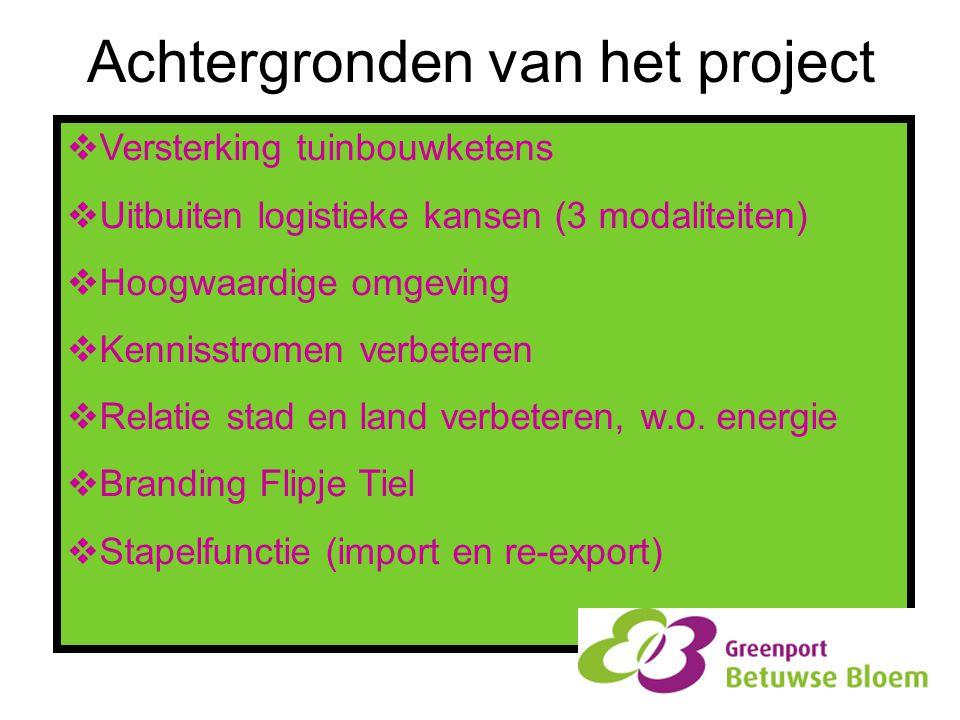 Achtergronden van het project  Versterking tuinbouwketens  Uitbuiten logistieke kansen (3 modaliteiten)  Hoogwaardige omgeving  Kennisstromen verb