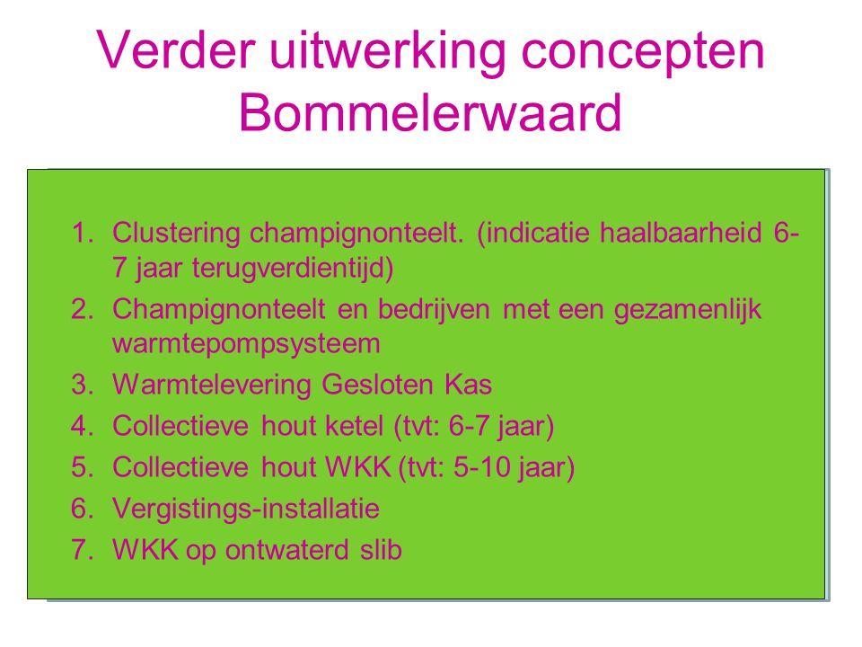 Verder uitwerking concepten Bommelerwaard 1.Clustering champignonteelt. (indicatie haalbaarheid 6- 7 jaar terugverdientijd) 2.Champignonteelt en bedri
