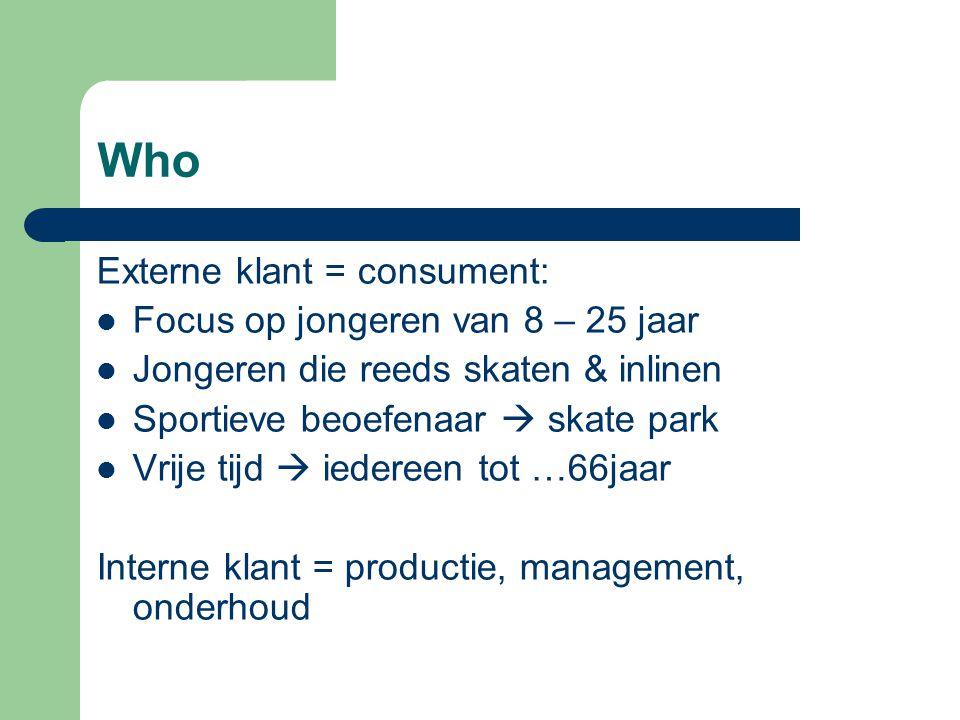 Externe klant = consument: Focus op jongeren van 8 – 25 jaar Jongeren die reeds skaten & inlinen Sportieve beoefenaar  skate park Vrije tijd  iedereen tot …66jaar Interne klant = productie, management, onderhoud
