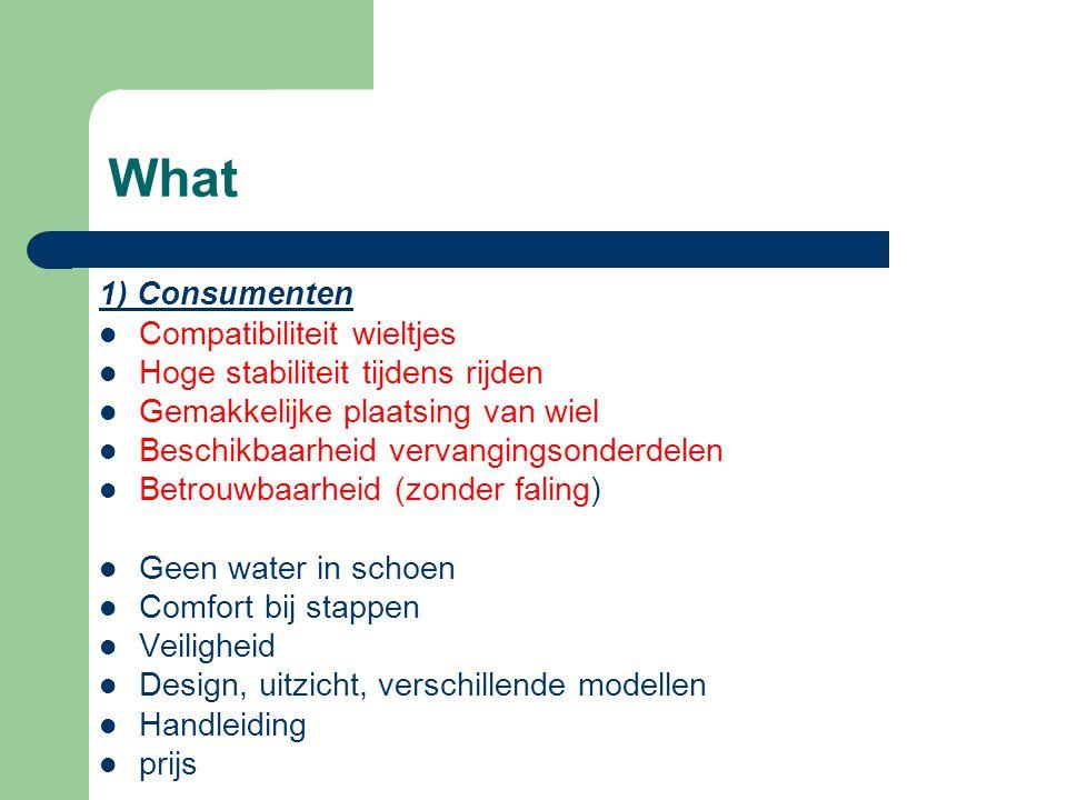 What 1) Consumenten Compatibiliteit wieltjes Hoge stabiliteit tijdens rijden Gemakkelijke plaatsing van wiel Beschikbaarheid vervangingsonderdelen Betrouwbaarheid (zonder faling) Geen water in schoen Comfort bij stappen Veiligheid Design, uitzicht, verschillende modellen Handleiding prijs