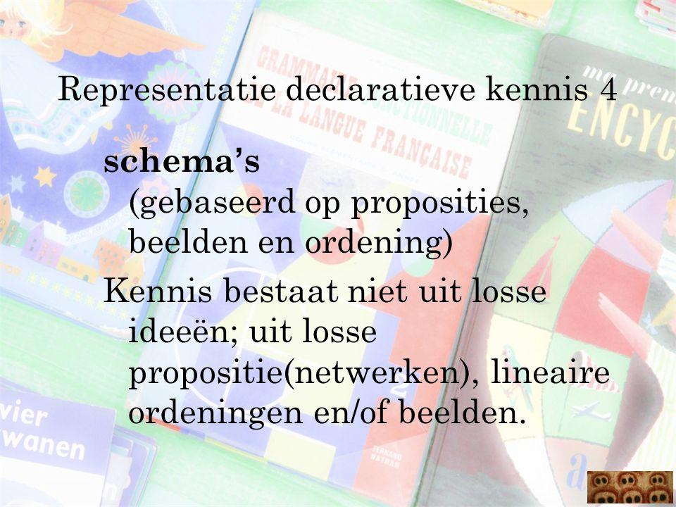 Representatie declaratieve kennis 4 schema ' s (gebaseerd op proposities, beelden en ordening) Kennis bestaat niet uit losse ideeën; uit losse proposi