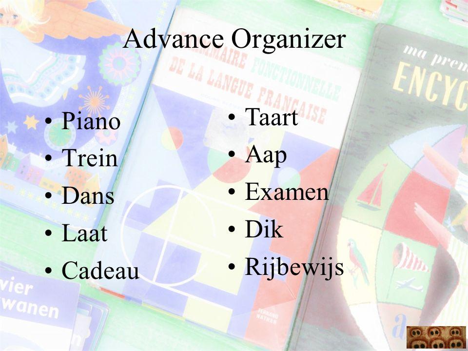 Advance Organizer Piano Trein Dans Laat Cadeau Taart Aap Examen Dik Rijbewijs