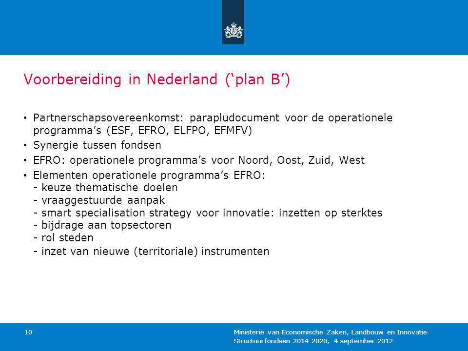 Structuurfondsen 2014-2020, 4 september 2012 Ministerie van Economische Zaken, Landbouw en Innovatie 10 Voorbereiding in Nederland ('plan B') Partners