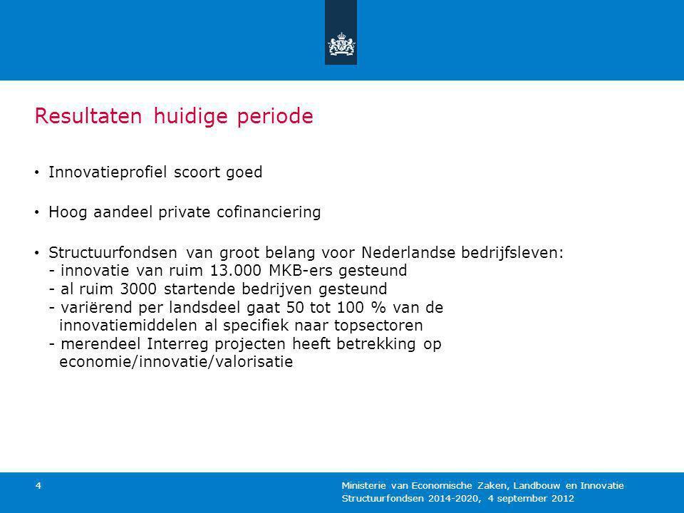 Structuurfondsen 2014-2020, 4 september 2012 Ministerie van Economische Zaken, Landbouw en Innovatie 4 Resultaten huidige periode Innovatieprofiel sco