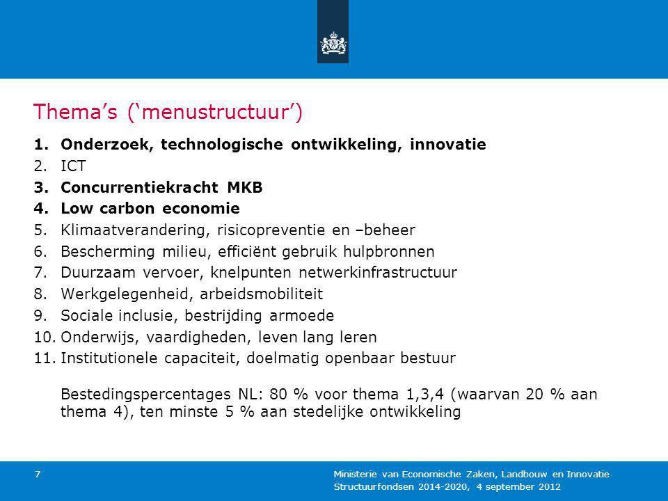 Structuurfondsen 2014-2020, 4 september 2012 Ministerie van Economische Zaken, Landbouw en Innovatie 7 Thema's ('menustructuur') 1.Onderzoek, technolo