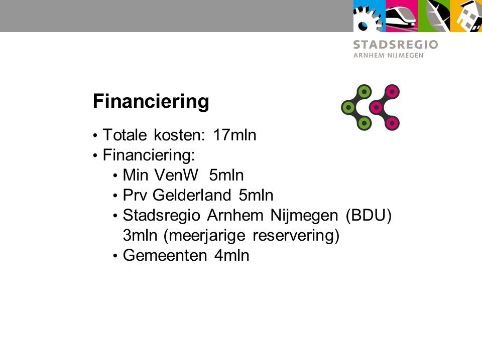 Financiering Totale kosten: 17mln Financiering: Min VenW 5mln Prv Gelderland 5mln Stadsregio Arnhem Nijmegen (BDU) 3mln (meerjarige reservering) Gemee
