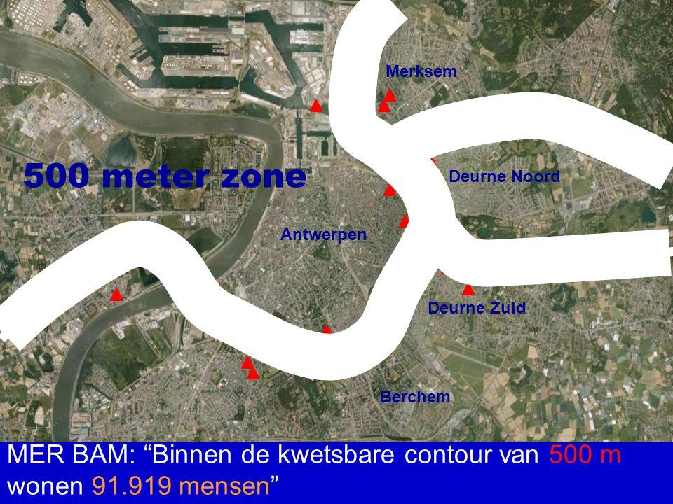 "Merksem Deurne Noord Deurne Zuid Berchem Antwerpen MER BAM: ""Binnen de kwetsbare contour van 500 m wonen 91.919 mensen"" 500 meter zone"
