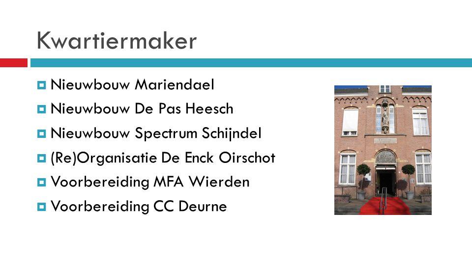 Kwartiermaker  Nieuwbouw Mariendael  Nieuwbouw De Pas Heesch  Nieuwbouw Spectrum Schijndel  (Re)Organisatie De Enck Oirschot  Voorbereiding MFA W