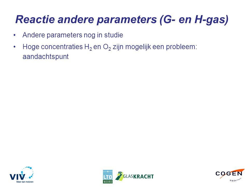 Reactie andere parameters (G- en H-gas) Andere parameters nog in studie Hoge concentraties H 2 en O 2 zijn mogelijk een probleem: aandachtspunt