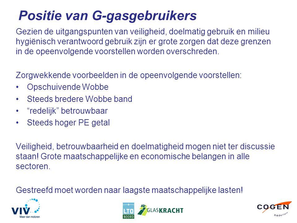 Positie van G-gasgebruikers Gezien de uitgangspunten van veiligheid, doelmatig gebruik en milieu hygiënisch verantwoord gebruik zijn er grote zorgen dat deze grenzen in de opeenvolgende voorstellen worden overschreden.