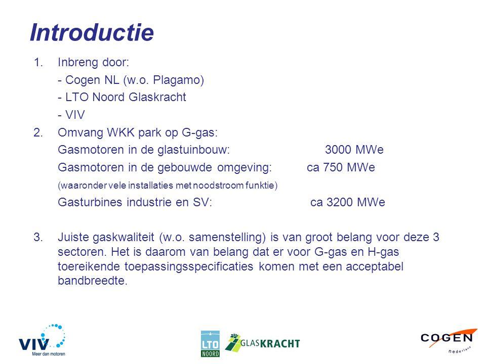 Introductie 1.Inbreng door: - Cogen NL (w.o. Plagamo) - LTO Noord Glaskracht - VIV 2.Omvang WKK park op G-gas: Gasmotoren in de glastuinbouw:3000 MWe
