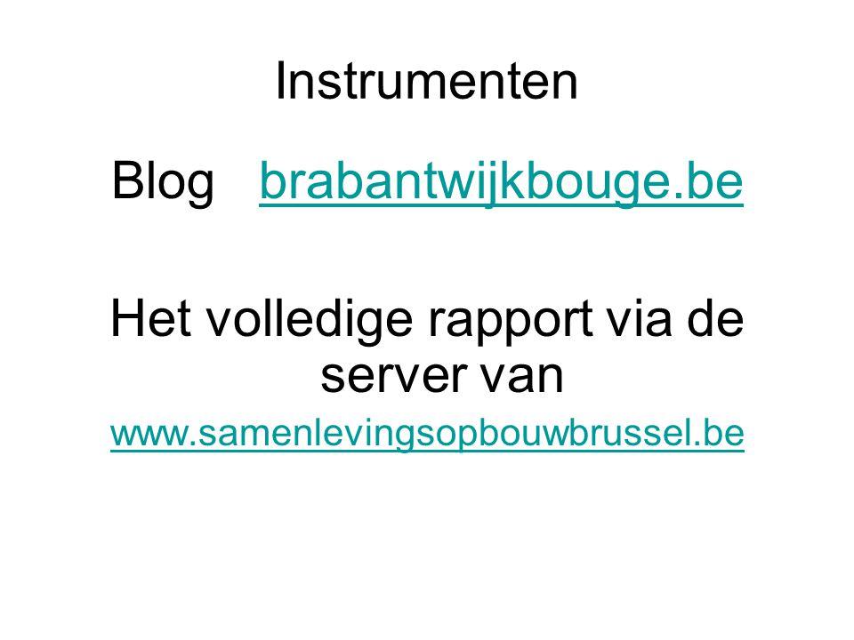 Instrumenten Blog brabantwijkbouge.bebrabantwijkbouge.be Het volledige rapport via de server van www.samenlevingsopbouwbrussel.be