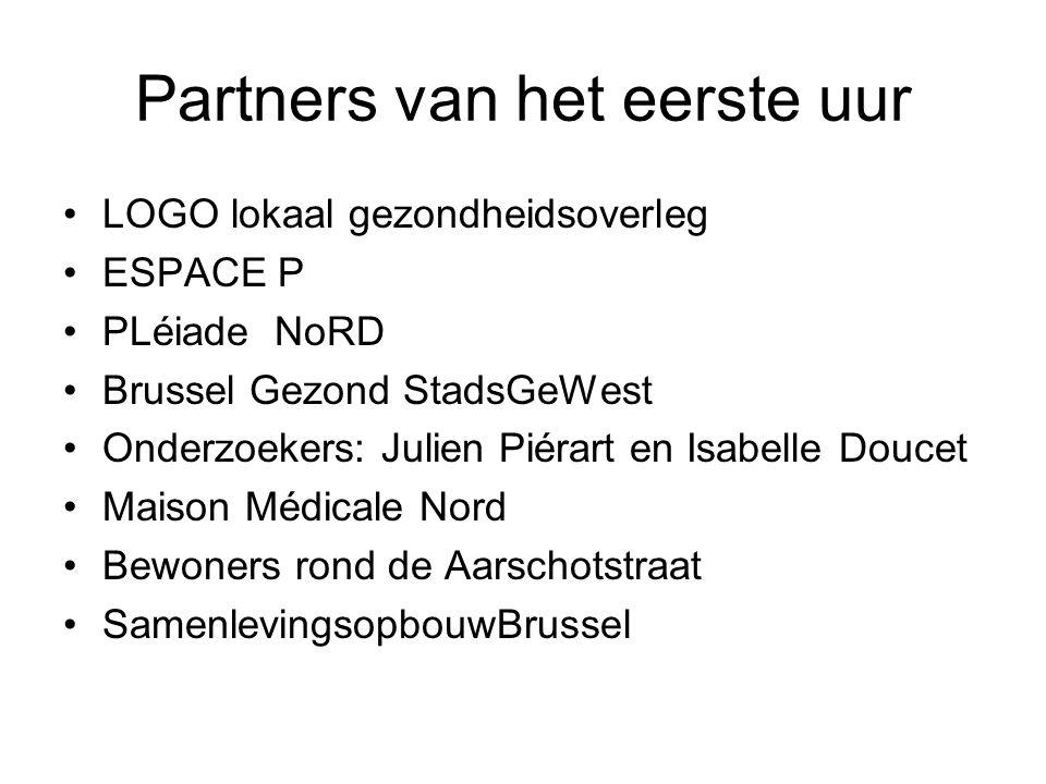 Partners van het eerste uur LOGO lokaal gezondheidsoverleg ESPACE P PLéiade NoRD Brussel Gezond StadsGeWest Onderzoekers: Julien Piérart en Isabelle D
