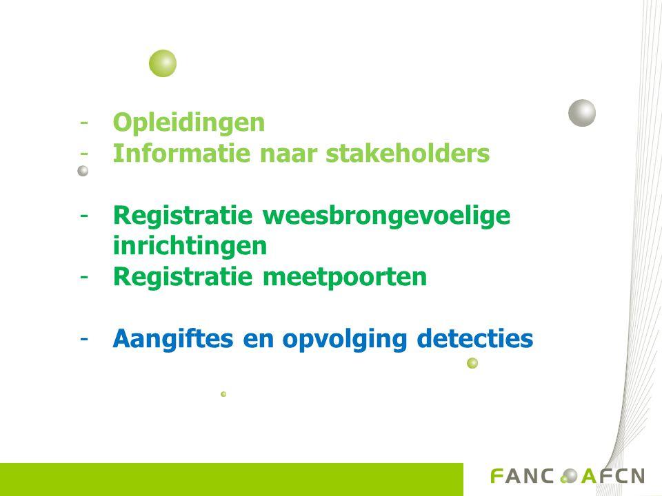 -Opleidingen -Informatie naar stakeholders -Registratie weesbrongevoelige inrichtingen -Registratie meetpoorten -Aangiftes en opvolging detecties