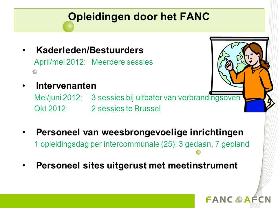 Opleidingen door het FANC Kaderleden/Bestuurders April/mei 2012: Meerdere sessies Intervenanten Mei/juni 2012: 3 sessies bij uitbater van verbrandings