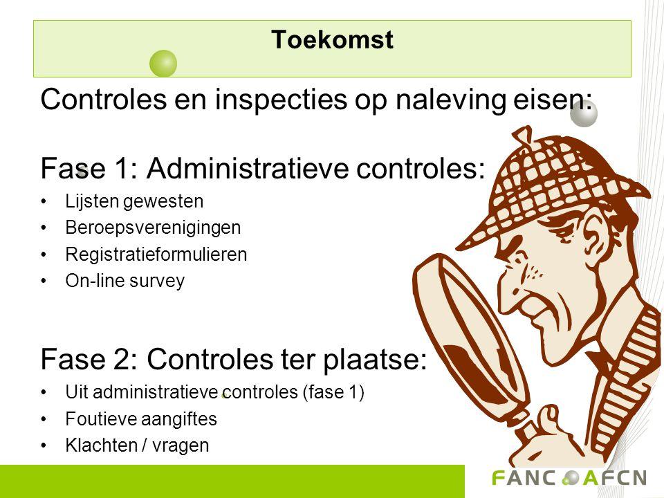 Controles en inspecties op naleving eisen: Fase 1: Administratieve controles: Lijsten gewesten Beroepsverenigingen Registratieformulieren On-line surv